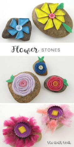 Flower stones nature craft. Use a variety of materials such as yarn, buttons, mosaic tiles and bottle caps to create decorative flower rocks for Spring.