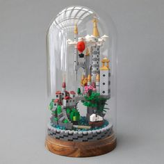 Micro Scale Castle in Glass Dome by Peter Ilmrud