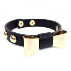 Gold Stud Bow Leather Bracelet