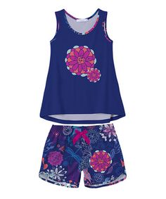 Look what I found on #zulily! Navy Flower Tank & Shorts - Toddler & Girls #zulilyfinds