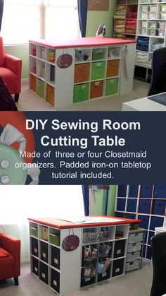 An easy DIY sewing room cutting table using Closetmaid organizers to fit standard size cutting mats.