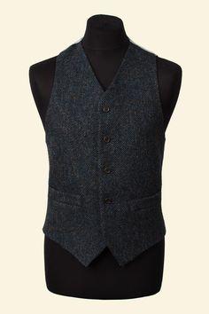 Navy Herringbone Harris Tweed Ramsey Waistcoat Walker Slater Tweed Specialists