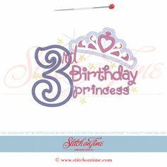 865 Birthday : 3rd Birthday Princess Applique 5x7