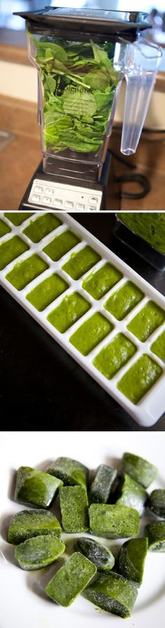 veggie cubes. link doesn't work, but pictures provide the gist...blend veggies (spinach) and enough water to make a puree, freeze in ice cube trays, use veggie cubes in smoothies/green drinks.