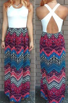 Crisscross Printed Maxi Dress