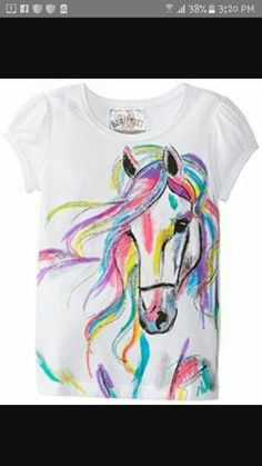 Beautees Little Girls Horse Screen T Shirt T Shirt Painting, Fabric Painting, Fabric Art, Painted Jeans, Painted Clothes, Hand Painted, Textiles, Tie Dye Crafts, Paint Shirts