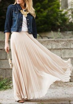 Sum All Chic, Shop Nude Plain Pleated Ankle Floor Length Straight Fashion Polyester Flowy Maxi Skirt online. Maxi Outfits, Black Skirt Outfits, Skirt Outfits Modest, Pencil Skirt Outfits, Casual Outfits, Pleated Skirt, Dress Skirt, Maxi Skirts, Long Skirts