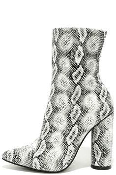 """The Mamba Grey Snake Print Mid-Calf Boots are your new ultimate style weapon! Chic, snake print fabric covers a pointed toe upper that rises into a fitted shaft. 8.25"""" zipper at instep."""