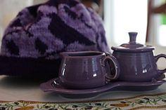 A Violet Spring tea cozy knitting pattern Tea Cozy, Drinking Tea, Knitting Patterns, Spring, Ravelry, Purple, Knit Patterns, Knitting Stitch Patterns, Viola