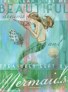 Treasures by Mermaids Artwork: Beach Decor, Coastal Decor, Nautical Decor, Tropical Decor, Luxury Beach Cottage Decor Real Mermaids, Mermaids And Mermen, Fantasy Mermaids, Sirens, Mermaid Artwork, Mermaid Paintings, Mermaid Prints, Mermaid Canvas, Mermaid Tale