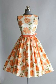 Flowery dress White and Orange 50's