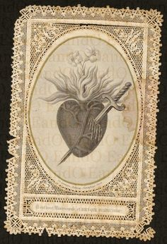 Exceptional Rare Antique 19th Century French Paper Lace Holy Card - Immaculate Heart of Mary.