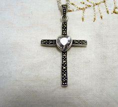 Gemstone Cross, Marcasite Black Alaskan Cross, Sterling Silver Heart Cross, Special Cross, Hematite Cross, Sterling Stone Cross etsy