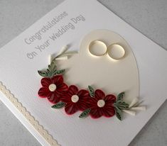 Quilled wedding congratulations card by PaperDaisyCards on Etsy