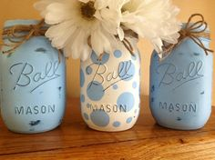 Set of 3 Handpainted and Distressed Ball by MidnightOwlCandleCo