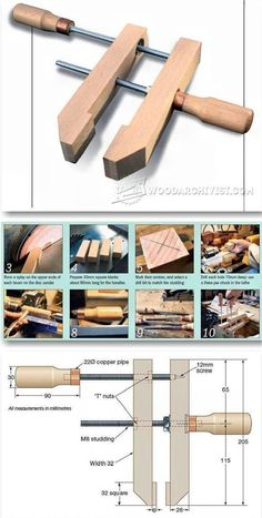 Homemade Hand Screw Clamps - Clamp and Clamping Tips, Jigs and Fixtures | WoodArchivist.com #WoodworkingTools #WoodworkingTips
