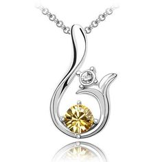 Fancy 18k White Gold Plated Sunshine Citrine Yellow Swarovski Austrian Crystal Fabulous Swirl Charm Pendant Necklace P9958 Enchanting Jewels Necklace, http://www.amazon.com/dp/B00960HPTO/ref=cm_sw_r_pi_dp_Gnpwqb02H328X