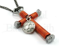 Soccer Ball Charm ADD-ON for Horseshoe Nail Cross Necklace, Keychain or Car Rear View Mirror Charm