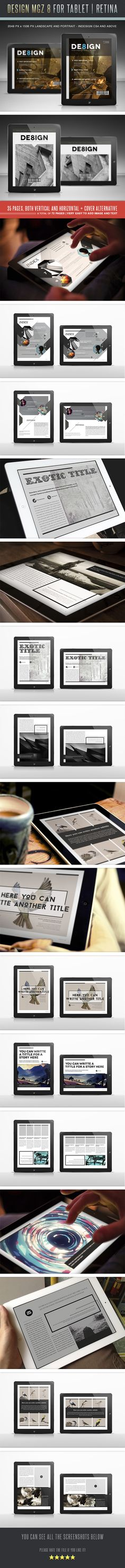 Design MGZ 8 for Tablet by Lucas Iacono, via Behance Download from: http://graphicriver.net/item/design-mgz-8-for-tablet/5383869?ref=luuqas