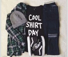 'Cool shirt day' tee with flannel and high top VANS Grunge Outfits, Grunge Fashion, Teen Fashion, Fashion Outfits, Cute Casual Outfits, Outfits For Teens, Winter Outfits, Summer Outfits, High Top Vans Outfit