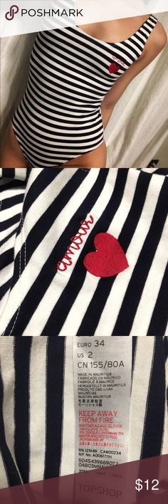 "Topshop Bodysuit In great condition Only worn once!  Horizontal Stripes  ""Amour"" detail Size XS Topshop Tops"