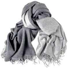 Two Tone Grey Reversible Cashmere Stole ($500) ❤ liked on Polyvore featuring accessories, scarves, stole, gray scarves, grey scarves, cashmere shawl and infinity scarves