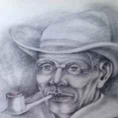 Técnica utilizada, grafite sobre papel canson, tema entidade afro. Preto velho com cachimbo.