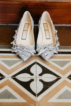 Wedding shoes - silver, closed toe, alternative, elegant, unique, low heel {Mary & Maurizio - Quattro Studio Photography}