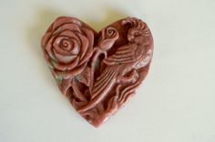 Carved Stone Flower Pendant, Pink Rhodonite, Hand Carved Gemstone Rose Flower Pink Stone Flower Pendant 61x60x8mm D by TheBeadBandit on Etsy
