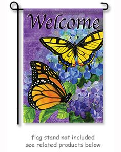 """Royal Wings Garden Flag from Flagtrends by Carson by artist Sue Zipkin.  Size: 12.5"""" x 18""""  Free Shipping"""