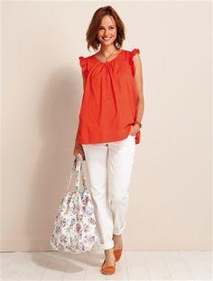 Wunderschönes Outfit: Bequeme Umstandshose mit breitem Stretcheinsatz und schöner, farbiger Schwangerschaftstunika von Vertbaudet.