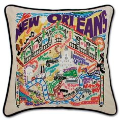 NEW ORLEANS HAND-EMBROIDERED PILLOW :: Catstudio