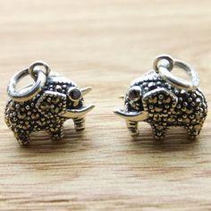 925 Sterling Silver Small Elephant Charm Pendants DIY Findings LFJ39