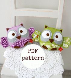 Owl felt toy sewing pattern, PDF pattern