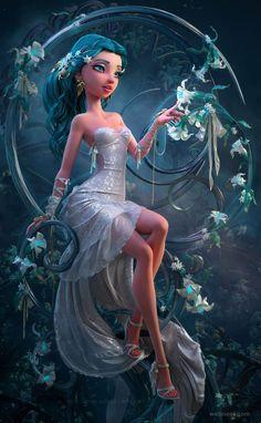3d fantasy girl model