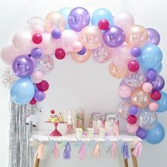 This Ginger Ray Pastel Balloon Arch Kit includes balloon tape and pastel-colored balloons that come in different sizes and designs. Use this balloon arch kit to decorate for an Easter party, baby shower, or any other occasion! Ballons Pastel, Purple Balloons, Confetti Balloons, Latex Balloons, Gold Confetti, Balloon Arch Diy, Balloon Backdrop, Balloon Garland, Balloon Decorations