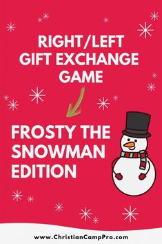You should try this Christmas game! Frosty the Snowman Story – Right/Left Christmas Game - Christian Camp Pro Christmas Gift Exchange Games, Christmas Games For Family, Christmas Poems, Holiday Games, Christmas Events, Christmas Party Games, A Christmas Story, Kids Christmas, Xmas Games