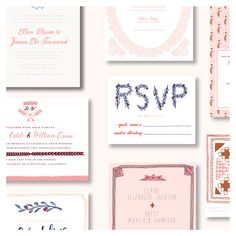 Pink, peach, and blue wedding invitations by Sycamore Street Press