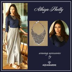 We love how Ami Patel has styled the fashion forward Athiya Shetty with accessories from Aquamarine for Hero film promotions.