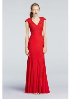 Illusion Back Lace Applique Prom Dress at David's Bridal #DavidsProm