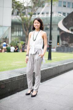 Elegantly Muted: Lisa, Bank Associate, Top from Catwalk Close, Cardigan from Fox  #shentonista #theuniform #singapore #fashion #streetstyle #style #ootd #shentonway #women #g2000 #greys #catwalkclose #warehouse #fox #bangkok #casio #elegant #neutral