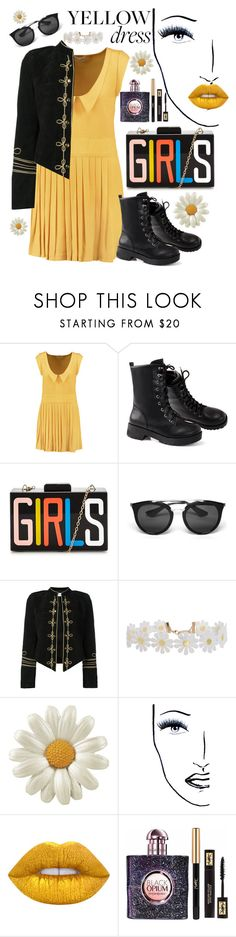 """""""amarillo"""" by lilixjane ❤ liked on Polyvore featuring RED Valentino, Prada, Yves Saint Laurent, Humble Chic, Black Magic Lashes and Lime Crime"""