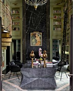 Seen in Elle Décor, this library has to be one of the most incredible ones I've seen in years. Of course it was designed by Kelly Wearstler