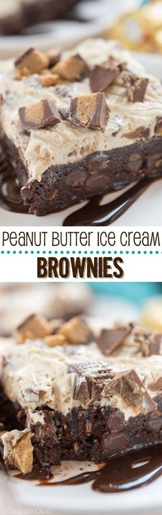Peanut Butter Ice Cream Brownies - an easy one bowl brownie recipe topped with peanut butter ice cream!