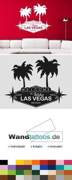 Fabulous Wandtattoo Las Vegas Wele Schild mit Palmen