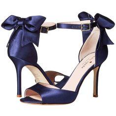 Kate Spade New York - Izzie (navy Satin) High Heels Navy Blue High Heels, Navy Heels, Bow Sandals, Sandal Heels, Blue Satin Shoes, Satin Pumps, Navy Wedding Shoes, Wedding Heels, Vestidos