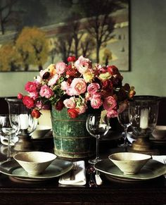 Country Table - imagine in a different setting. But I love the idea of an arrangement in a metal bucket.
