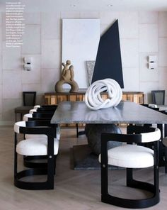 Malibu beach house decorated by Kelly Wearstler - Great chairs!