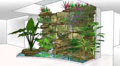 for vegetation. There is a pool to receive the runoff water used to irrigate the water culture plants. This recipient can be part of the fabric in order to integrate the piece better and provide greater freedom Pond Design, Landscape Design, Garden Design, Succulents In Glass, Small Water Gardens, Hot Tub Room, Patio Central, Indoor Waterfall, Rock Decor