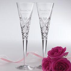 Romance-Inspired Miller Rogaska Crystal Toasting Flutes | #exclusivelyweddings | #toastingflutes